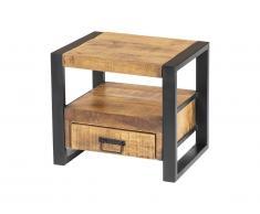 Table de chevet industrielle HARLEM - 1 tiroir & 1 niche - Bois de manguier & métal