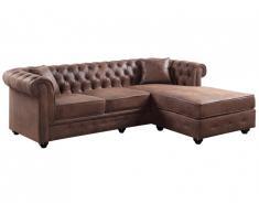 Canapé d'angle chesterfield réversible TOLEDO en microfibre vieillie - Marron