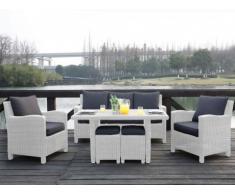 Salon jardin OLINDA résine blanche : canapé, 2 fauteuils, 2 tabourets, table à manger