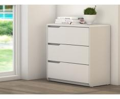 Commode LUCILE - 3 tiroirs - MDF blanc