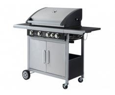 Barbecue à gaz en acier epoxy NOUBA à leds - 4 brûleurs + 1 latéral