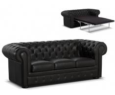 Canapé Chesterfield 3 places convertibleen cuir LONDRES - Cuir luxe Noir
