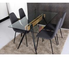 Table à manger TIMIA - 6 couverts - Verre trempé et acier - Noir