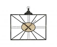 Horloge murale industrielle PHILIA - métal et placage en pin - H. 45 x L. 60 cm - Noir