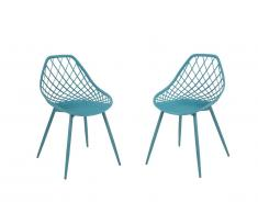 Lot de 2 chaises de jardin MALAGA en polypropylène - Bleu