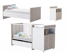 Lit bébé évolutif ROMY - 60x120/90x200 cm - Blanc et Chêne - Avec rangements