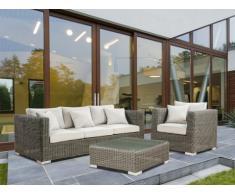 Salon de jardin PATACHO en résine tressée beige : un canapé 3 places, une table basse et un fauteuil