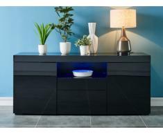 Buffet MERCURE - MDF laqué noir - LEDs - 2 portes & 3 tiroirs