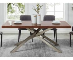 Table à manger MILEVA - MDF & métal - Coloris : Noyer