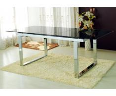 Table extensible CAGLIARI - 6 à 8 couverts - Verre trempé & chrome