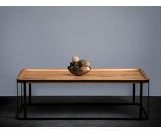 Table basse NICOSIE - Bois de manguier massif & Métal