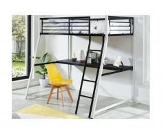 Lit mezzanine MALICIA - couchage 90x190cm - bureau intégré - coloris noir et blanc