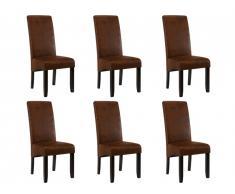 Lot de 6 chaises SANTOS - Microfibre aspect cuir vieilli - Pieds bois foncé