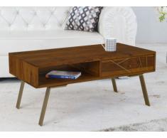 Table basse ORPHEA - 1 niche & 1 tiroir - Bois de Sheesham & métal doré