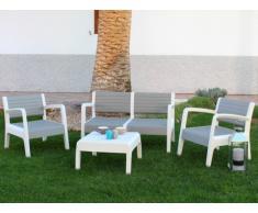Salon de jardin MIALI en PVC : 2 fauteuils, un canapé 2 places, une table basse - structure blanche assise grise