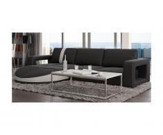 Canapé d'angle réversible en simili TALITA - Noir et bande blanche
