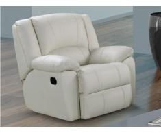Fauteuil relax en cuir AROMA - Ivoire