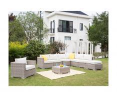 Salon de jardin modulable BUSAN en résine tressée: canapé panoramique 6 places, un fauteuil, un pouf et une table basse