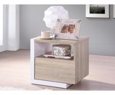 Chevet scandinave NAPOLI - 1 tiroir - Chêne et blanc