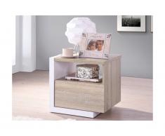Table de chevet scandinave NAPOLI - 1 tiroir - Chêne et blanc