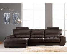 Canapé d'angle en cuir METROPOLITAN II - Chocolat - Angle gauche