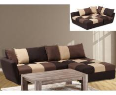 Canapé d'angle convertible en tissu ROMANE - Chocolat - Angle droit
