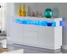 Buffet FABIO - MDF laqué blanc - LEDs - 3 tiroirs & 2 portes
