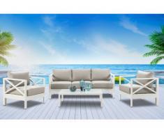 Salon de jardin SERAM en aluminium blanc et coussins taupe : un canapé, 2 fauteuils et une table