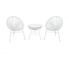 Salon de jardin ALIOS II en fils de résine tressés - blanc : 2 chaises et une table