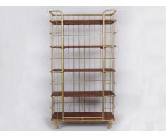 Etagère à roulettes SARASOTA - Bois de manguier & métal doré