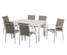 Salle à manger de jardin PAHOA en aluminium : une table extensible 135/270cm et 6 fauteuils empilables - Blanc