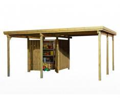 Carport LOTTA en bois traité classe III avec range outils - surface 22m² - toit en PVC