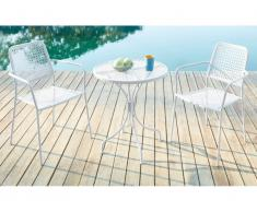 Salle à manger de jardin NAJAC en métal - une table D.60cm et 2 fauteuils empilables - Blanc