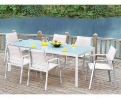 Salle à manger de jardin PALAOS - Table extensible 190/300cm + 6 fauteuils - Blanc