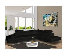 Canapé d'angle XL en simili ROMAIN - Noir - Angle droit