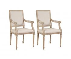 Lot de 2 chaises avec accoudoirs AMBOISE - Tissu & Bois d'Hévéa - Beige