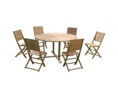 Salle à manger de jardin CALLAO en acacia: une table ronde D.150cm et 6 chaises pliantes