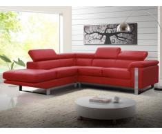 Canapé d'angle en cuir MYSTIQUE - Rouge - Angle gauche