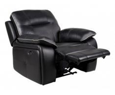 Fauteuil relax électrique en cuir CATANE - Noir et passepoil gris clair
