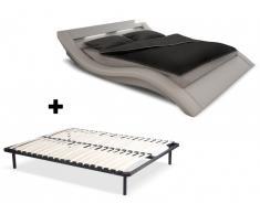 Lit ONDULIS + cadre à lattes - 160x200cm - Simili blanc avec LEDs