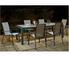 Salle à manger de jardin SAMAXI en aluminium - une table extensible 180/240cm + 6 fauteuils - Assise blanche