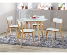 Pack salle à manger: Ensemble table + 4 chaises COLETTE - Blanc & naturel