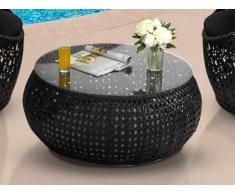 Table de jardin CAZAS en résine tressée - noir