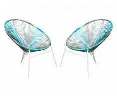 Lot de 2 chaises de jardin ALIOS II en fils de résine tressés - Anthracite, bleu, gris clair