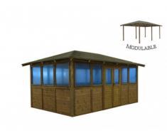 Gazebo CARAVELAS pour piscine ou spa modulable en bois traité III -surface 16,47m² - épaisseur 19mm - toit en feutre bitumé