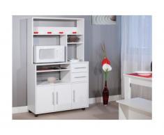 Buffet de cuisine sur roulettes ASTRID - 3 portes & 2 tiroirs - Coloris blanc