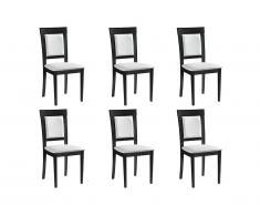 Lot de 6 chaises CALISTA - PVC & Hêtre - Coloris : Wengé et blanc