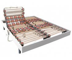 Sommier électrique de relaxation lattes et 2x25 plots déco bois blanc de DREAMEA - 2 x 80 x 200 cm - moteurs OKIN