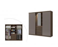 Armoire BODIL - portes coulissantes - Miroir et tiroirs - L240cm - Marron et taupe