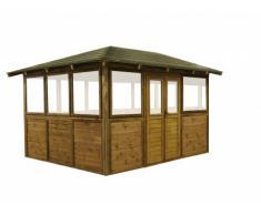 Gazebo COPACABANA modulable pour piscine ou spa en bois traité III -surface 10m² - épaisseur 19mm - toit en feutre bitumé